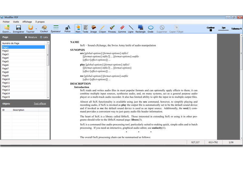 Modifier PDF screenshot